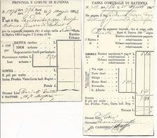 Ravenna - Lotto 2 Ricevute Cassa Comunale E Provincia E Comune - 1864 E 1865 - Historical Documents