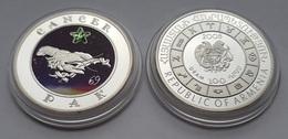 Cancer Astrology Sun Sign Silver Coin From Armenia - Armenia