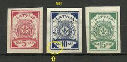 Lettland Latvia 1919 Michel 3 - 5 B + ERROR Abart Druckfehler White Spot * - Lettland