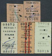 SPAIN QY4425 5 Tickets Merida Madrid Cordoba Malaga Nulles-Drafim 1955-66 Billet Fahrkarte - Railway