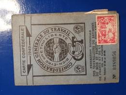 CGT CARTE CONFEDERALE 1949 TRAVAILLEURS DU BATIMENT 213 RUE LAFAYETTE PARIS 10 - Supplies And Equipment