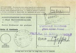 1968 - Amministrazione Della Poste E Delle Telecomunicazioni - Avviso Di Ricevimento Raccomandata - Napoli - 6. 1946-.. Repubblica
