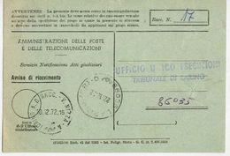 1972 - Amministrazione Della Poste E Delle Telecomunicazioni - Avviso Di Ricevimento Raccomandata - Torino - 1946-.. République