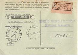 1973 - Amministrazione Della Poste E Delle Telecomunicazioni - Avviso Di Ricevimento Raccomandata - Putignano Di Bari - 1981-90: Storia Postale