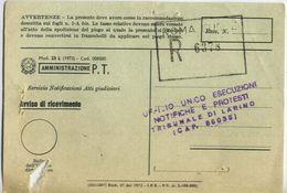 1980 - Amministrazione Della Poste E Delle Telecomunicazioni - Avviso Di Ricevimento Raccomandata - Roma - 6. 1946-.. Repubblica