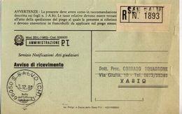 1987 - Amministrazione Della Poste E Delle Telecomunicazioni - Avviso Di Ricevimento Raccomandata - San Salvo - Chieti - 1946-.. République