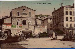 TARARE - Place Denave (animée - Charette - Publicités ST RAPHAEL QUINQUINA, KUB, KOLA, Chocolat MENIER - Marché ?) - Tarare