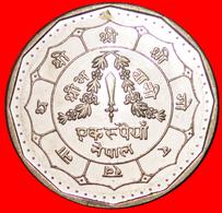 √ SUN AND MOON* NEPAL ★ 1 RUPEE 2045 (1988) MINT LUSTER! LOW START ★ NO RESERVE! Birendra Bir Bikram (1971-2001) - Nepal