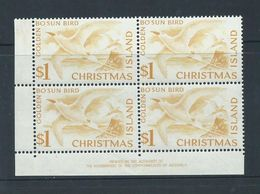 Christmas Island 1963 $1 Bosun Bird Definitive Imprint Block Of 4 MNH , 1 Stamp With Gum Blemish - Christmas Island