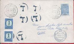 Carta Circulou C/selo Fiscal Obliterada Com Marca De Congresso, Lisboa.Multada.Filed.Letter Circulated With Fiscal Stamp - Variétés Et Curiosités