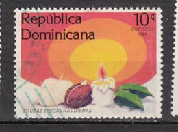 République Dominicaine, 1985, Noël, Christmas, Bougie, Candle, Fruit, Houx, - Dominicaanse Republiek