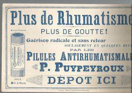 Publicité , Plaque , Cartonnage Léger ,pilules Antirhumatismales P. PUYPEYROUX, Alger, Frais Fr 1.95 E - Plaques En Carton