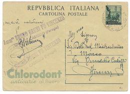 REPUBBLICA INTERO POSTALE QUADRIGA 20 Lire 1953 - PUBBLICITARIA CHLORODONT ANTICARIE - Città Di Castello / Frenze - 6. 1946-.. Repubblica