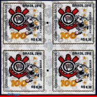 Ref. BR-3146-Q BRAZIL 2010 FOOTBALL-SOCCER, CORINTHIANS SPORT CLUB, UNUSUAL, STAMP IN CLOTH, BLOCK MNH 4V Sc# 3146 - Blocks & Kleinbögen