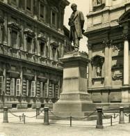 Italie Milan Monument à Manzoni Ancienne Photo Stereo NPG 1900 - Stereoscopic