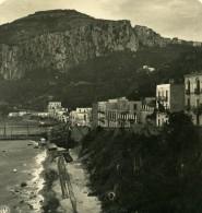 Italie Capri La Grande Marina Vue De Nuit Ancienne Photo Stereo NPG 1900 - Stereoscopic