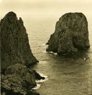 Italie Capri Faraglioni Ancienne Photo Stereo NPG 1900 - Stereoscopic