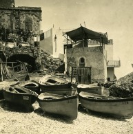 Italie Capri Piccola Marina Maison De Pêcheurs Ancienne Photo Stereo NPG 1900 - Stereoscopic