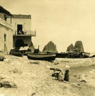 Italie Capri Piccola Marina Buvette Restaurant Ancienne Photo Stereo NPG 1900 - Stereoscopic