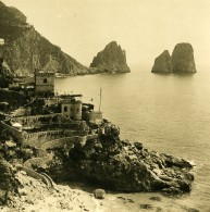 Italie Capri Piccola Marina Tour Sarrazine Ancienne Photo Stereo NPG 1900 - Stereoscopic