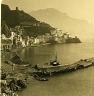 Italie Amalfi Porto Panorama Du Port Ancienne Photo Stereo NPG 1900 - Stereoscopic