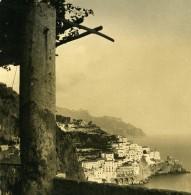 Italie Amalfi Vue De L'Hotel Cappuccini Ancienne Photo Stereo NPG 1900 - Stereoscopic