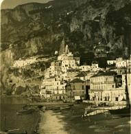 Italie Amalfi Marina Vue De L'Hotel Cappuccini Ancienne Photo Stereo NPG 1900 - Stereoscopic