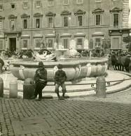 Italie Rome Place Colonna Fontaine Publique Ancienne Photo Stereo NPG 1900 - Stereoscopic
