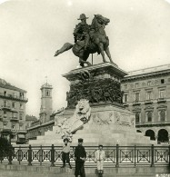 Italie Milan Monument Victor Emmanuel Ancienne Photo Stereo 1900 - Stereoscopic