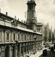 Italie Milan Via Mercanti & Duomo Ancienne Photo Stereo NPG 1900 - Stereoscopic