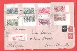 PORTUGAL Devant De L  Par Avion Recommandé Obl LISBOA NORTE 14 VI 1946 Vers Forest (Belgique) - 1910-... Republic