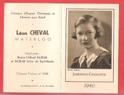 Calendrier Petit Format Léon CHEVAL Fabrique D'engrais Et Aliments Pour Bétail à WATERLOO BRAINE L'ALLEUD 1940 - Calendars
