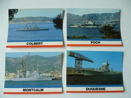 LOT DE 4 CARTES BATEAUX DE GUERRE FRANCE DUQUENE  COLBERT MONTCALM FOCH - Equipment