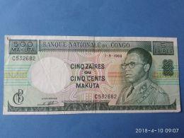 500 Makuta 5 Zaires 1968 - Congo