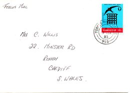 GIBRALTAR. N°462 De 1982 Sur Enveloppe Ayant Circulé. Hirondelle. - Swallows
