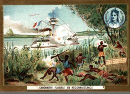 CHROMO BUSCS A L'ANCRE LACURES CHATELAINE CANONNIERE FLUVIALE EN RECONNAISSANCE RANAVOLO REINE DE MADAGASCAR - Trade Cards