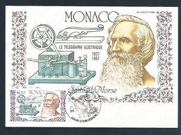 MONACO CARTE MAXIMUM 1987 SAMUEL MORSE TELEGRAPHE ELECTRIQUE - Maximum Cards