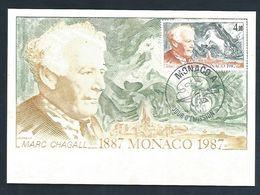 MONACO CARTE MAXIMUM 1987 MARC CHAGALL  PEINTURE - Cartes-Maximum (CM)