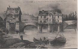 PONTOISE LE PONT ET LES MOULINS EN 1833 GRAVURE DE L EPOQUE - Pontoise