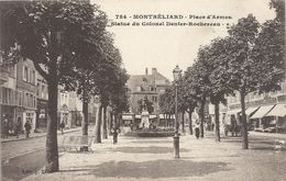 MONTBELIARD .784. PLACE D'ARMES . STATUE DU COLONEL DENFER-ROCHEREAU . CARTE ANIMEE NON ECRITE - Montbéliard