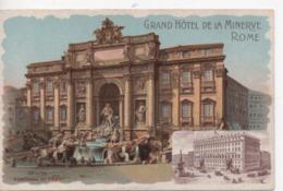 CPA.Italie.Rome.Publicité Grand Hôtel De La Minerve.Fontana Di Trevi .Lithographie - Fontana Di Trevi