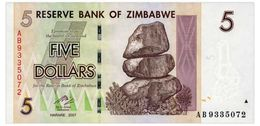 ZIMBABWE 5 DOLLARS 2007 Pick 66 Unc - Zimbabwe