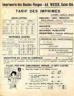 88.VOSGES.SAINT DIE.IMPRIMERIE DES HAUTES-VOSGES.AD.WEICK TARIF 1923. - Imprimerie & Papeterie
