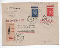 ILOT DE SAINT NAZAIRE / POCHE DE L'ATLANTIQUE - 1945 - ENVELOPPE RECOMMANDEE De LA BAULE (LOIRE ATLANTIQUE) - PETAIN - Marcophilie (Lettres)