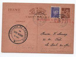 ILOT DE SAINT NAZAIRE / POCHE DE L'ATLANTIQUE - 1945 - ENTIER IRIS + PETAIN De LA BAULE - CACHET CHAMBRE DE COMMERCE - Marcophilie (Lettres)