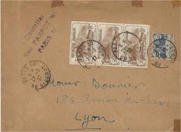1927- Enveloppe De Paris 30  Affr. à 1,75 F . Bande De 3 N° 230 + 165 Orphelins - Marcofilia (sobres)