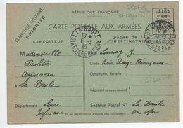 ILOT DE SAINT NAZAIRE / POCHE DE L'ATLANTIQUE - 1945 - CARTE POSTALE AUX ARMEES FM De LA BAULE (LOIRE ATLANTIQUE) - Marcophilie (Lettres)