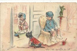 CPA G. BOURET .  -  OU C'EST QU'ELLE EN EST ?   CARTE ECRITE AU VERSO - Bouret, Germaine
