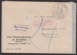 """Rochlitz Sachsen SoSt. Rochlitzer Porphyr """"Als Werkstein 1000jährig Bewährt"""" Portopflichtige Dienstsache 9.1.48, - Sowjetische Zone (SBZ)"""