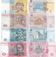 Ukraine Set 4 Pcs 1+2+5+10 Hryvnia - Pick 116-119 UNC - Random Years - Ukraine